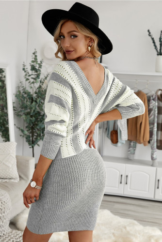 Gray Colorblock Hollow Out Sweater Dress LC273121-11