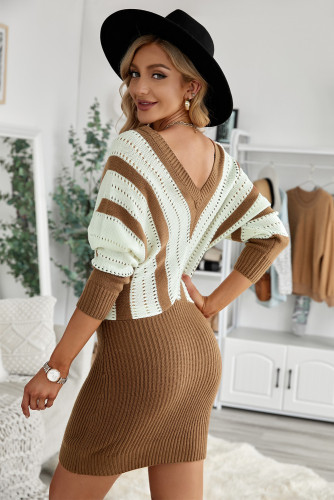 Khaki Colorblock Hollow Out Sweater Dress LC273121-16