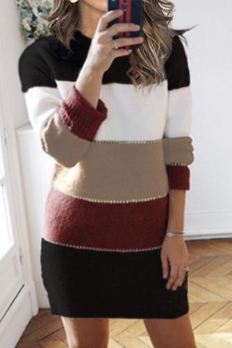 Black Color Block Sweater Dress LC273124-2