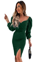 Green Wrapped Bodice Bubble Sleeve Bodycon Mini Dress with Slit LC227033-9