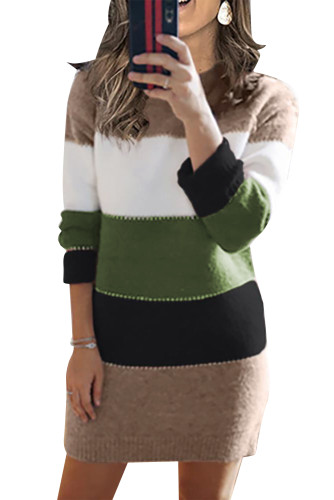Green Color Block Sweater Dress LC273124-9