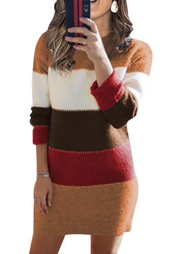 Khaki Color Block Sweater Dress LC273124-16