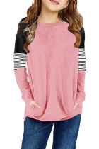 Pink Striped Colorblock Long Sleeve Girls Blouse with Pocket TZ25610-10
