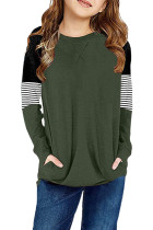 Green Striped Colorblock Long Sleeve Girls Blouse with Pocket TZ25610-9