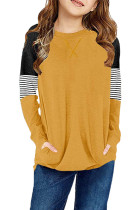 Yellow Striped Colorblock Long Sleeve Girls Blouse with Pocket TZ25610-7