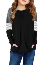 Black Striped Colorblock Long Sleeve Girls Blouse with Pocket TZ25610-2