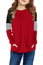Red Striped Colorblock Long Sleeve Girls Blouse with Pocket TZ25610-3