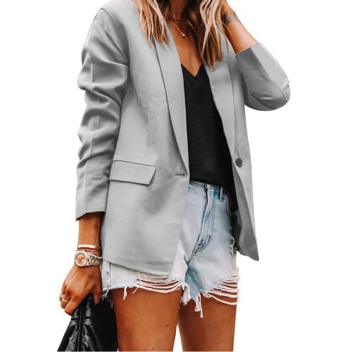 Solid Gray Turndown Collar Blazer Coat TQK260044-11