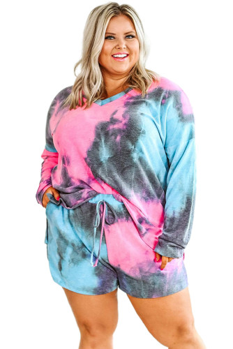 Multicolor Tie-dyed Long Sleeve Top and Shorts Plus Size Lounge Wear LC45117-22