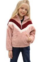 Pink Stripe Color Block Half Zip Girl Fleece Sweatshirt with Pocket TZ25498-10