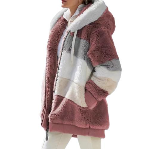 Rust Red Colorblock Plush Zipper Hoodie Coat TQK280102-33