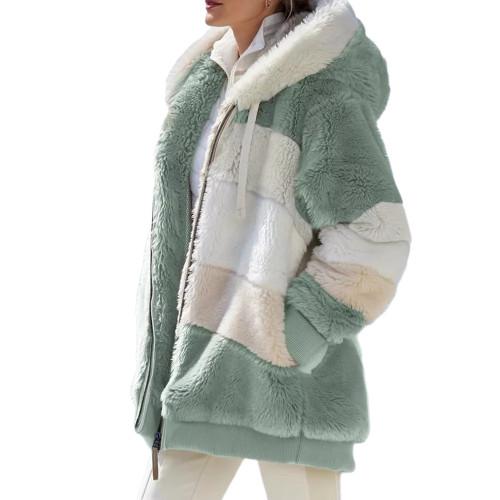 Light Green Colorblock Plush Zipper Hoodie Coat TQK280102-28