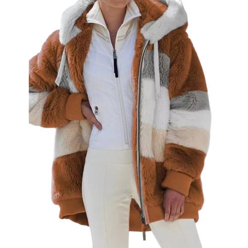 Caramel Colorblock Plush Zipper Hoodie Coat TQK280102-56