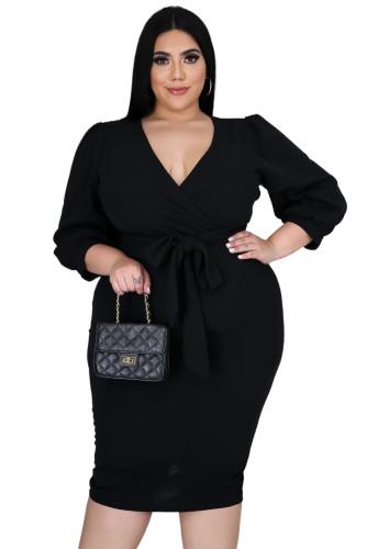 Black Plus Size Puff Sleeve Wrap V Neck Midi Dress LC615295-2