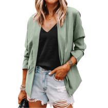 Solid Light Green Turndown Collar Blazer Coat TQK260044-28