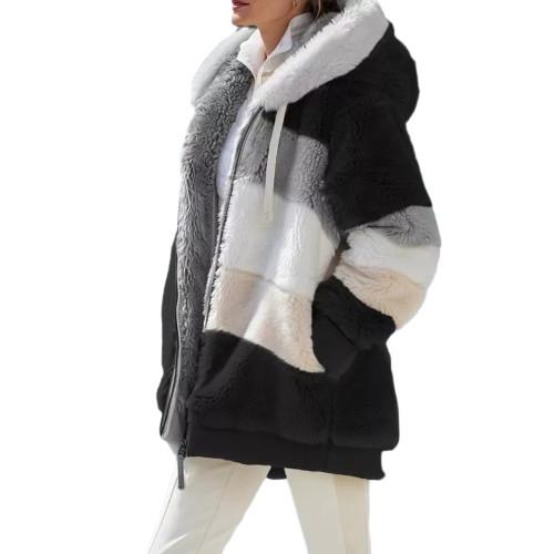 Black Colorblock Plush Zipper Hoodie Coat TQK280102-2