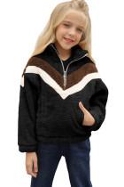 Black Stripe Color Block Half Zip Girl Fleece Sweatshirt with Pocket TZ25498-2