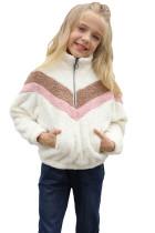 White Stripe Color Block Half Zip Girl Fleece Sweatshirt with Pocket TZ25498-1