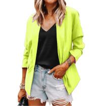 Solid Yellow Turndown Collar Blazer Coat TQK260044-7