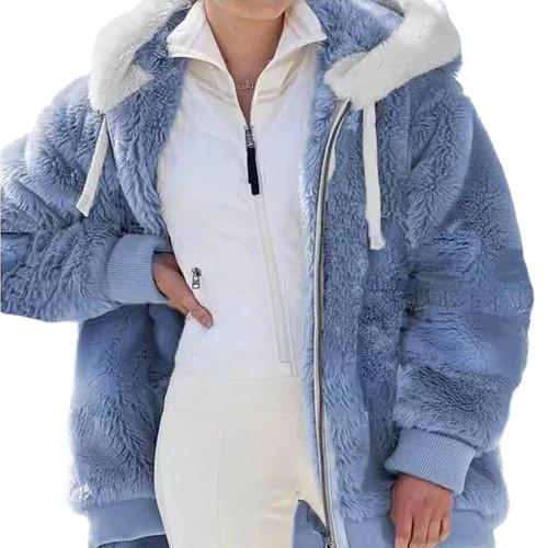 Light Blue Fluffy Plush Zipper Hoodie Coat TQK280101-30