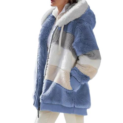 Light Blue Colorblock Plush Zipper Hoodie Coat TQK280102-30