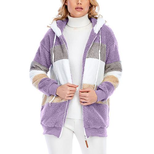 Purple Colorblock Plush Zipper Hoodie Coat TQK280102-8