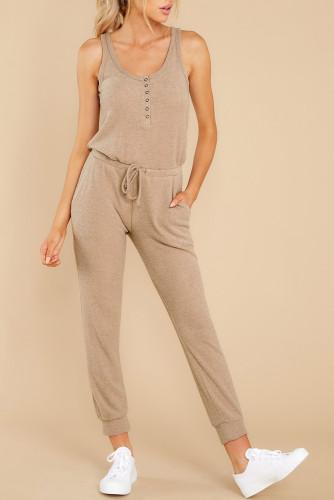 Khaki Sleeveless Buttons Pocket Tie Waist Jumpsuit LC642188-16