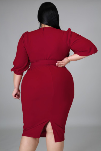Red Plus Size Puff Sleeve Wrap V Neck Midi Dress LC615295-3