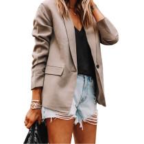 Solid Khaki Turndown Collar Blazer Coat TQK260044-21