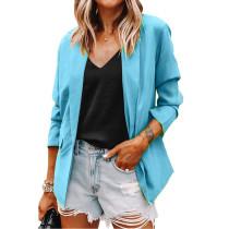 Solid Light Blue Turndown Collar Blazer Coat TQK260044-30