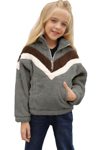 Gray Stripe Color Block Half Zip Girl Fleece Sweatshirt with Pocket TZ25498-11