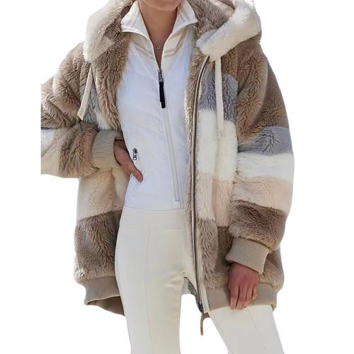 Khaki Colorblock Plush Zipper Hoodie Coat TQK280102-21