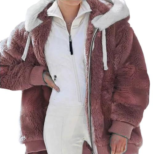 Rust Red Fluffy Plush Zipper Hoodie Coat TQK280101-33