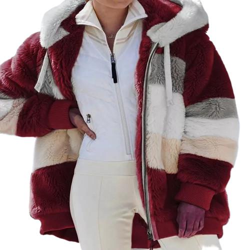 Wine Red Colorblock Plush Zipper Hoodie Coat TQK280102-23