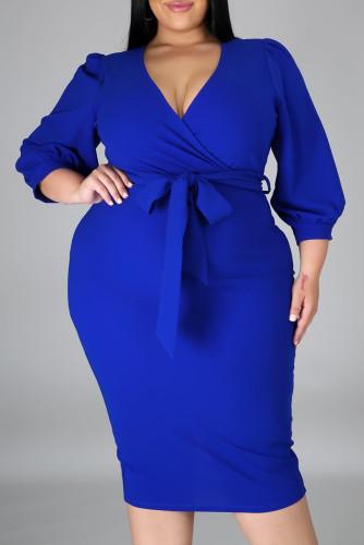 Blue Plus Size Puff Sleeve Wrap V Neck Midi Dress LC615295-5