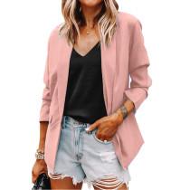 Solid Pink Turndown Collar Blazer Coat TQK260044-10