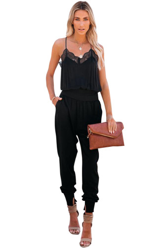 Black Lace Patchwork Spaghetti Strap Slim-fit Jumpsuit LC642173-2