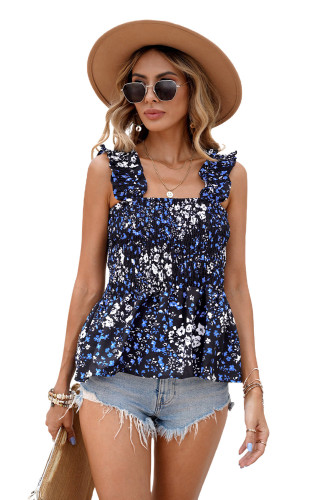 Classic Floral Print Smocked Tank LC252047-105