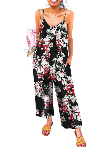 Red Floral Print Spaghetti Strap Wide Leg jumpsuit LC642434-3