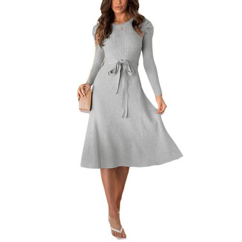 Gray Tie Waist Puff Sleeve Swing Sweater Dress TQK310657-11