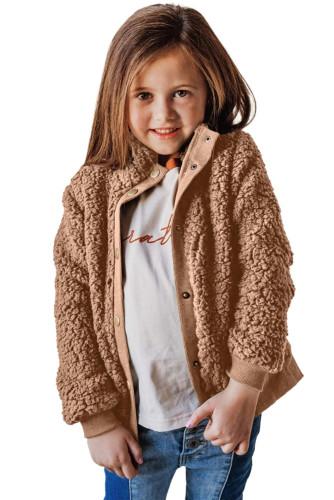 Brown Buttoned Solid Fleece Girl's Coat TZ85011-17