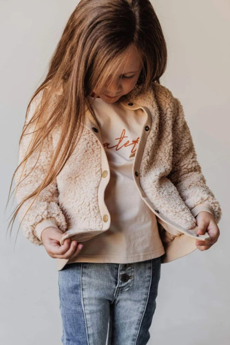 Beige Buttoned Solid Fleece Girl's Coat TZ85011-15