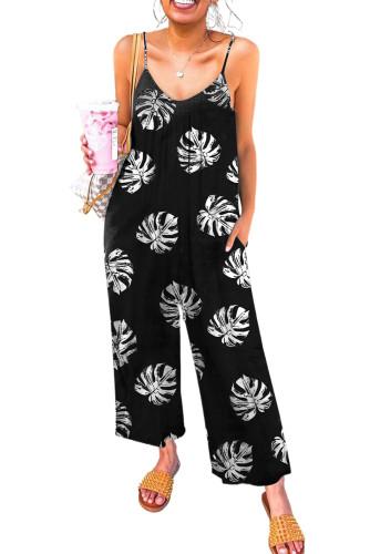 Black Palm Leaves Print Spaghetti Strap Wide Leg jumpsuit LC642434-2