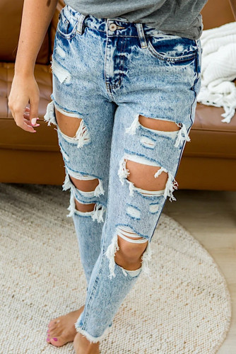 Sky Blue Wash Ripped Slim-fit Jeans LC782251-4
