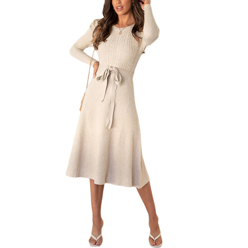 Apricot Tie Waist Puff Sleeve Swing Sweater Dress TQK310657-18