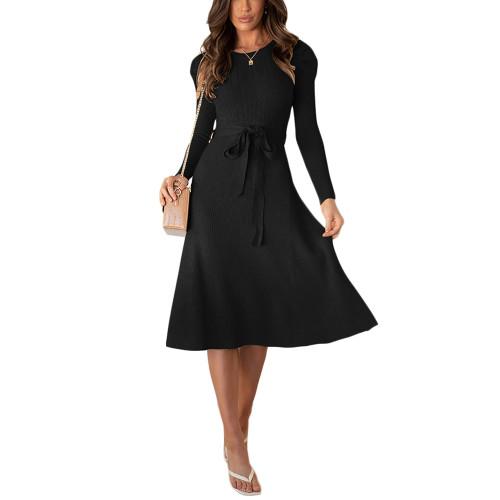 Black Tie Waist Puff Sleeve Swing Sweater Dress TQK310657-2