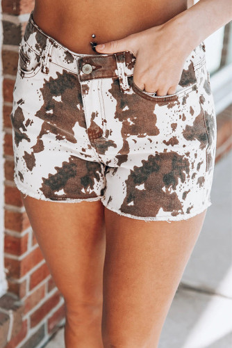 Brown Cow Print Denim Shorts with Pockets LC771811-17
