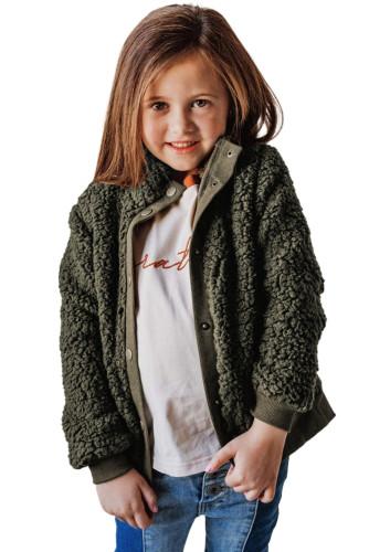 Green Buttoned Solid Fleece Girl's Coat TZ85011-9