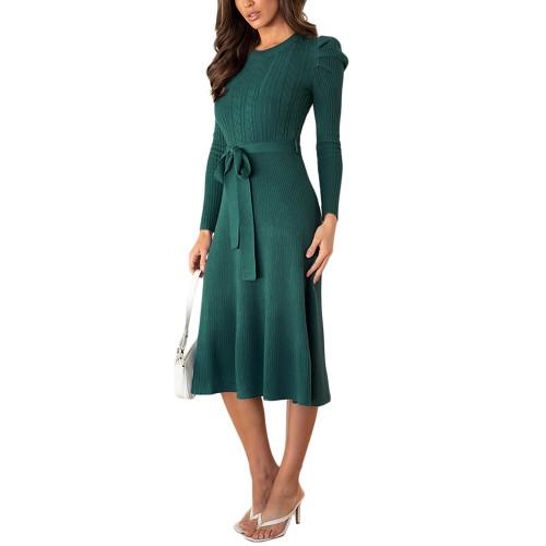 Dark Green Tie Waist Puff Sleeve Swing Sweater Dress TQK310657-36