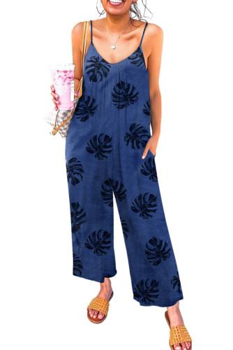 Blue Palm Leaves Print Spaghetti Strap Wide Leg jumpsuit LC642434-5